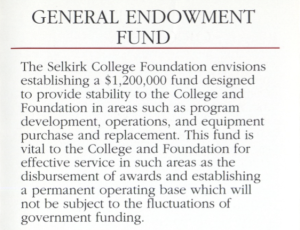 Selkirk College - fundraising brochure